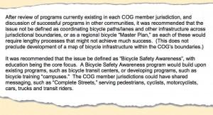 COG bike statement
