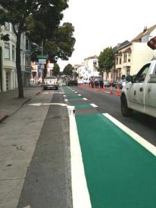 San Franciso's green bike lane