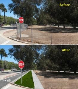 Visualization of a bike lane and active transportation corridor on Santa Monica Boulevard