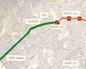 LA MTA backbone system map detail