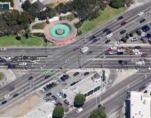 Wilshire Santa Monica intersection aerial