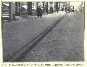Sidewalk elevated with Granite curb