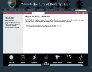Ad-Hoc Bike Plan Committee website screenshot
