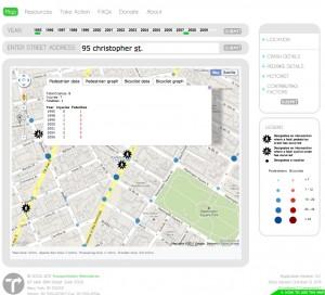 Transportation Alternatives CrashStat bikemap overview