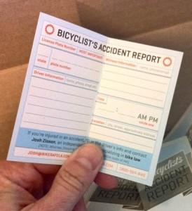 Bike Accident Report card inside