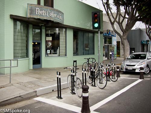 Bicycle rack corral in Santa Monica