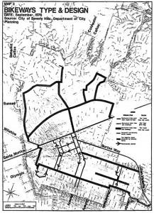 Bike Master Plan Bikeways system map (1976)