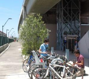 Expo Line Opening La Cienega bike racks