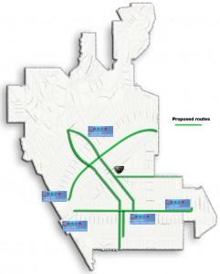 Bike Route Pilot program map