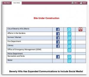 Beverly Hills website social media page