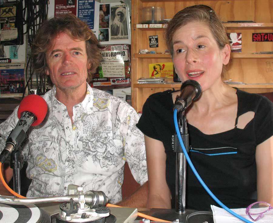 Jon Riddle and Sarah Amelar on the air for Bike Talk