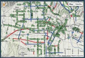 LA bicycle racks map