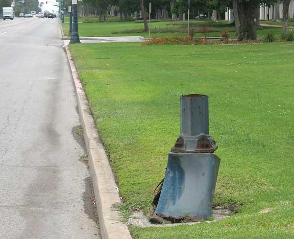 Santa Monica Boulevard sheared-off lamppost