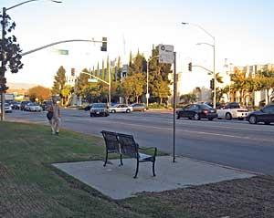 SM Blvd tour: bus stop bench