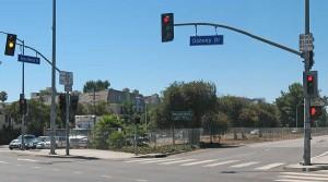 Santa Monica Blvd pork chop island