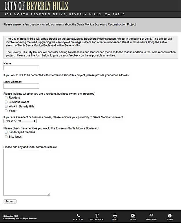 Web form for Santa Monica Boulevard reconstruction