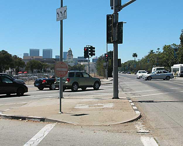 Santa Monica-Beverly Boulevard pedestrian island