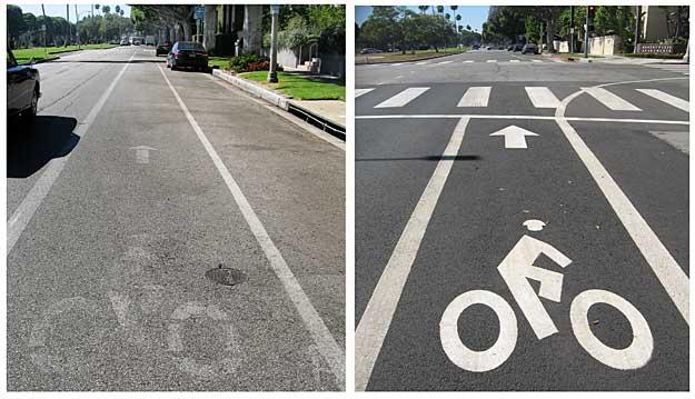 Beverly Hills and Los Angeles bike lane striping on Burton Way