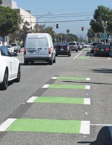 Santa Monica's thermoplast bicycle lane markings