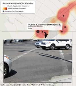 LA Times dangerous intersections map: Wilshire at South Santa Monica