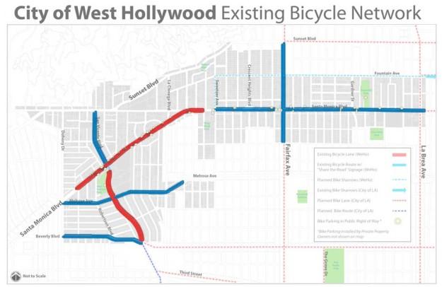 West Hollywood bike map