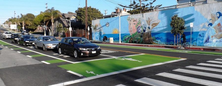 Santa Monica Ocean Park Boulevard Bike Box