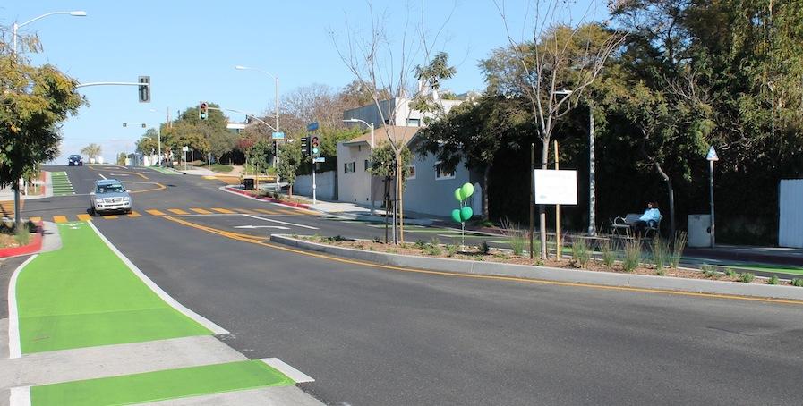 Santa Monica Ocean Park Boulevard bike lane