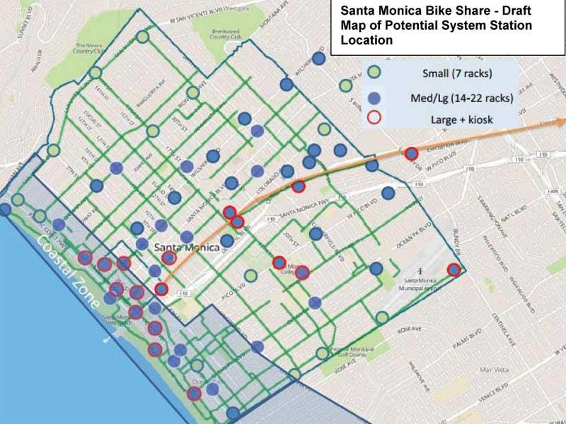 Santa Monica bike share map 2014