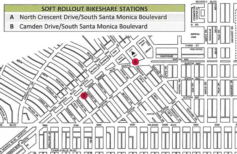 Beverly Hills bike share soft launch map 2016