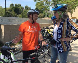 Roxbury Drive protected bike lane demonstration project Bob Wunderlich