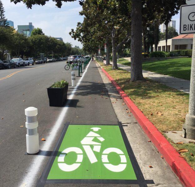 Roxbury Drive protected bike lane demonstration project
